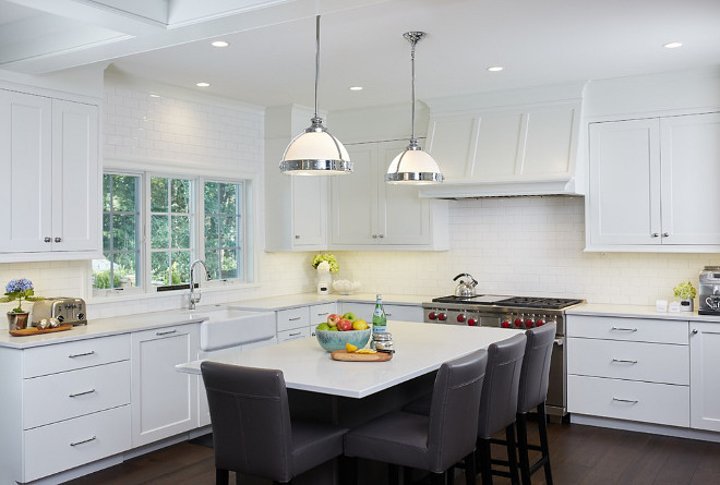 Kitchen. Classic white kitchen. White kitchen. Classic white kitchen subway tile, kitchen island and dark hardwood floors. Classic white kitchen #Classicwhitekitchen #whitekitchen #kicthen Francesca Owings Interior Design