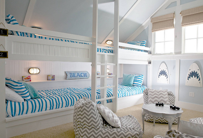 Beach house Bunk Room. Beach house Bunk Room with Four Bunk Beds. Beach house Bunk Room. Beach house Bunk Room Bunk Beds #BeachhouseBunkRoom #Beachhouse #BunkRoom #Bunkbeds #fourbunkbeds #4bunkbeds Kevin Noble via Houzz.