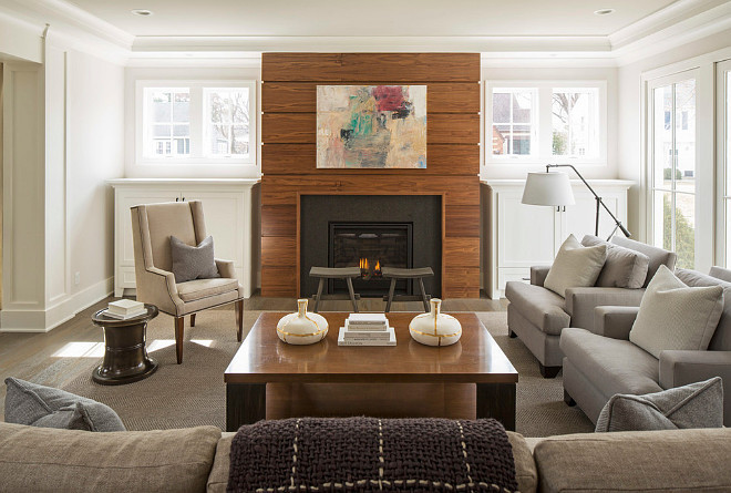 Shiplap Fireplace. Walnut shiplap. Walnut shiplap fireplace. The fireplace wood is a custom stained walnut done in shiplap. #Shiplap #fireplace #walnut #Walnutshiplap #fireplaceshiplap . Martha O'Hara Interiors