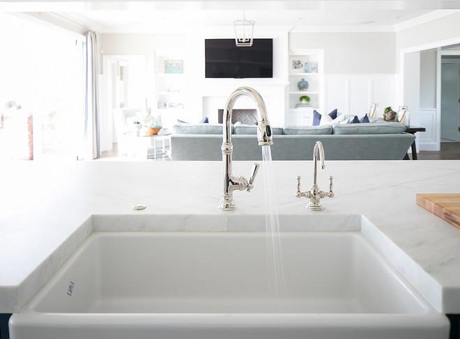 Gooseneck Kitchen Faucet. Gooseneck Kitchen Faucet for Farmhouse Sink. Gooseneck Kitchen Faucet. Gooseneck Kitchen Faucet is by Newport Brass. #GooseneckKitchenFaucet #GooseneckFaucet #KitchenFaucet