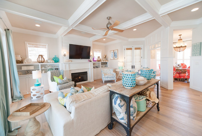 Family Room with coffered ceiling and light wide plank floors. Sconces over the fireplace are Circa Lighting Boston Head Light Sconce Family Room coffered ceiling. Family Room light wide plank floors. #FamilyRoom #FamilyRoomcofferedceiling #FamilyRoomlightwideplankfloors #cofferedceiling #lightwideplankfloors #wideplankfloors