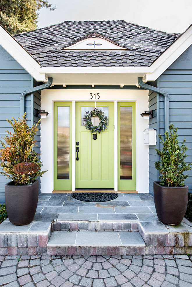 The green door paint color is Benjamin Moore Dill Pickle. The siding is similar Benjamin Moore Newburg Green. #BenjaminMooreNewburgGreen #BenjaminMooreDillPickle Studio3 Design, Inc.