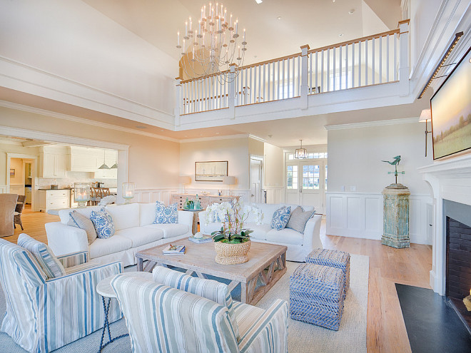 Beach Style Living Room Furniture and Decor. Beach Style Living Room features blue and white Furniture and Decor. #BeachStyle #LivingRoomFurniture #BeachStyleLivingRoomFurniture #BeachStyleLivingRoomDecor #BeachStyleInteriors #BeachStyleHomes