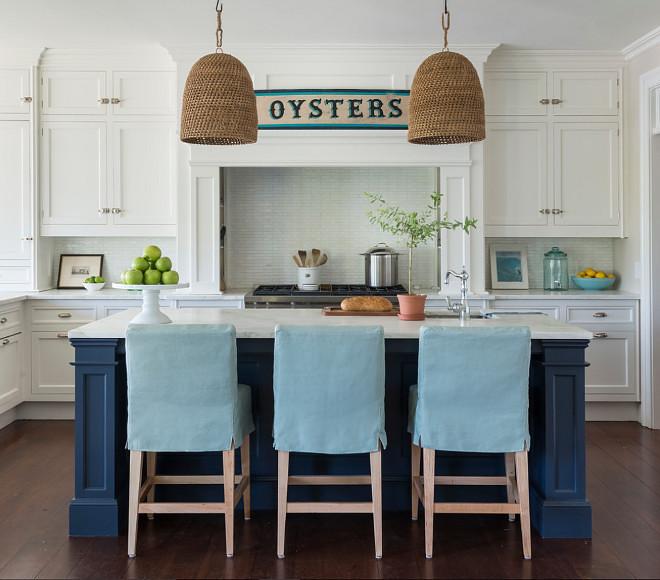 Coastal White Kitchen With Navy Blue Island