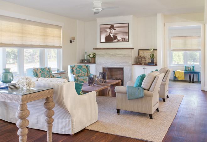 Beach Style Living Room. Beach House Living Room With Neutral Slipcovered  Furniture, Turquoise Accents