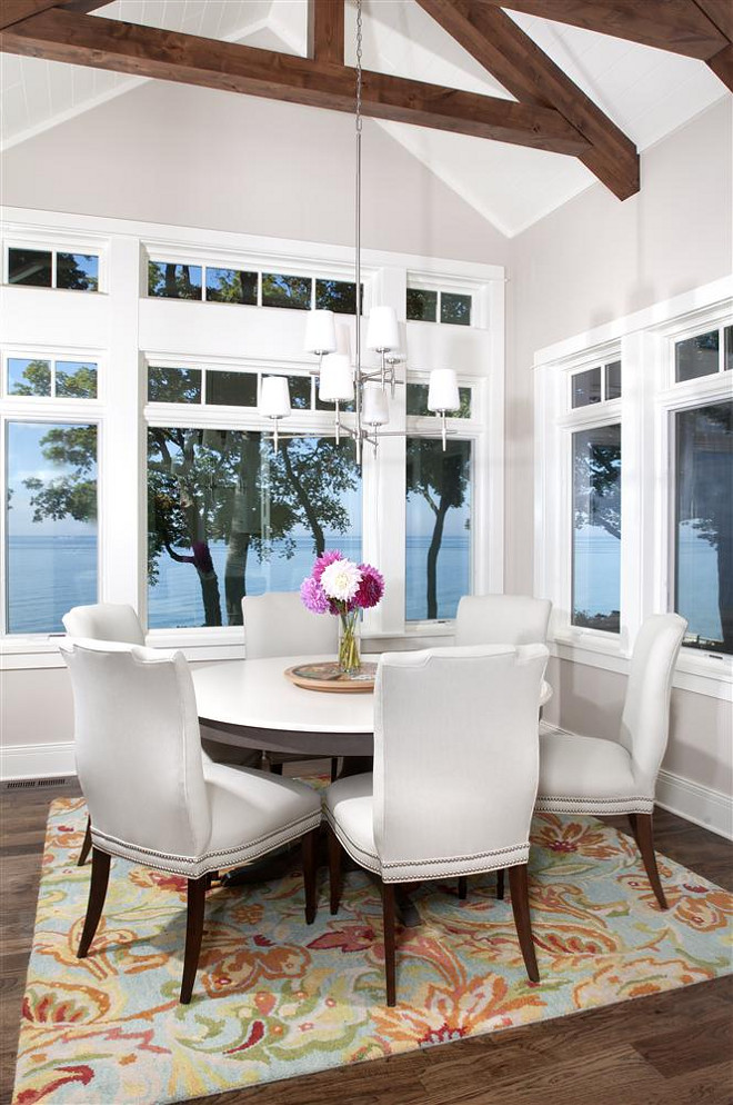 Dining Room Windows. Beautiful views of Lake Michigan can be seen through 8-foot tall windows in the dining area. #DiningRoom #Windows #DiningroomWindows