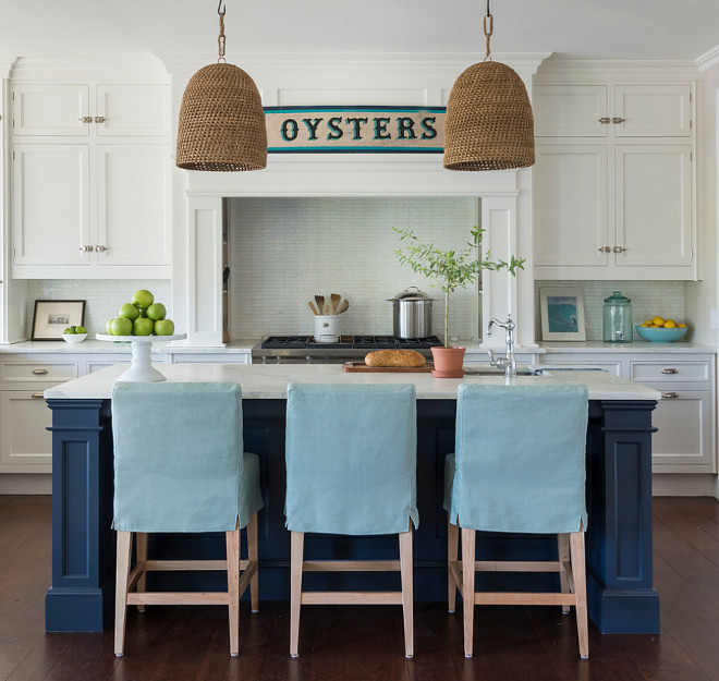 Jeffrey Alan Marks Woven Pendants. Woven pendants are by Jeffrey Alan Marks. Palecek Green Oaks Pendant. Jeffrey Alan Marks Woven Pendants above kitchen island. #JeffreyAlanMarks #WovenPendants #Kitchenwovenpendants Kate Jackson Design
