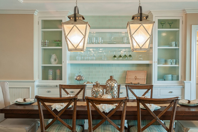 "Dining Room Lighting. The lantern light fixture is from Kichler from the Hayman Bay Collection - 15"" Wide Antique White Pendant. Dining Room Lighting. Dining Room Lighting ideas. Dining Room Lighting. <Dining Room Lighting> QualCraft Construction Inc."