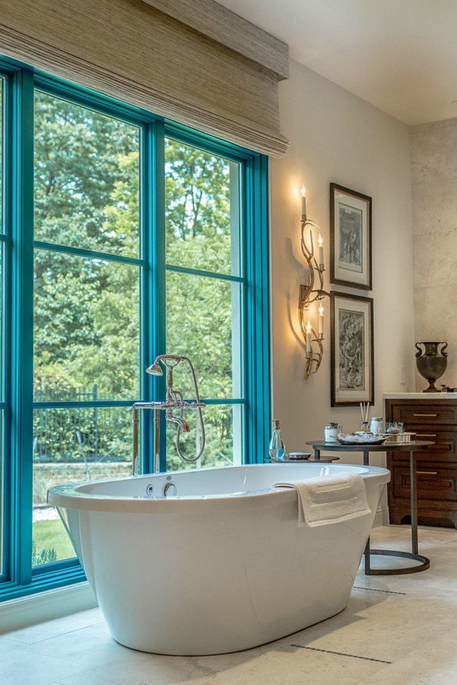 Bathroom steel window frame. Bathroom steel window frame painted in turquoise. Bathroom steel window frame. Bathroom steel window frame ideas #Bathroom #steelwindow #Bathroomsteelwindowframe #steelwindowframe Platinum Series by Mark Molthan