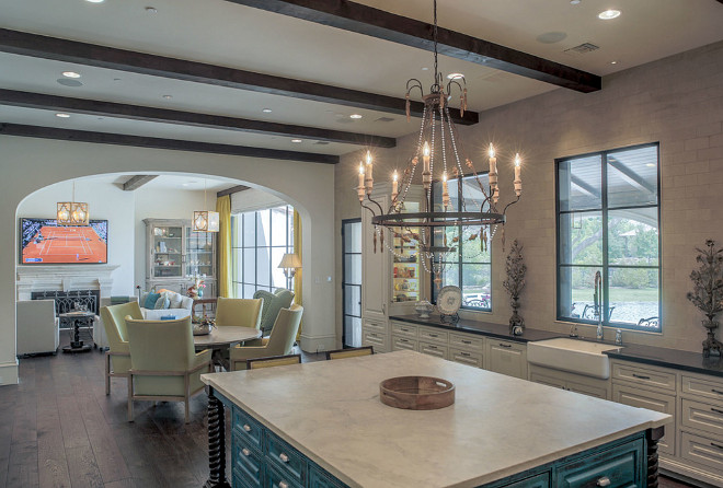 French Kitchen with distressed blue island. French Kitchen with distressed blue island and French chandelier. French Kitchen with distressed blue island ideas. #French Kitchen distressed blue island. #FrenchKitchen #Distressedblueisland #Distressedisland Platinum Series by Mark Molthan