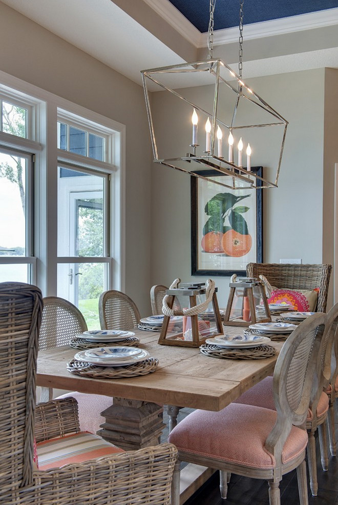 Pendant lighting for breakfast nook : Lake house with navy exterior home bunch interior design