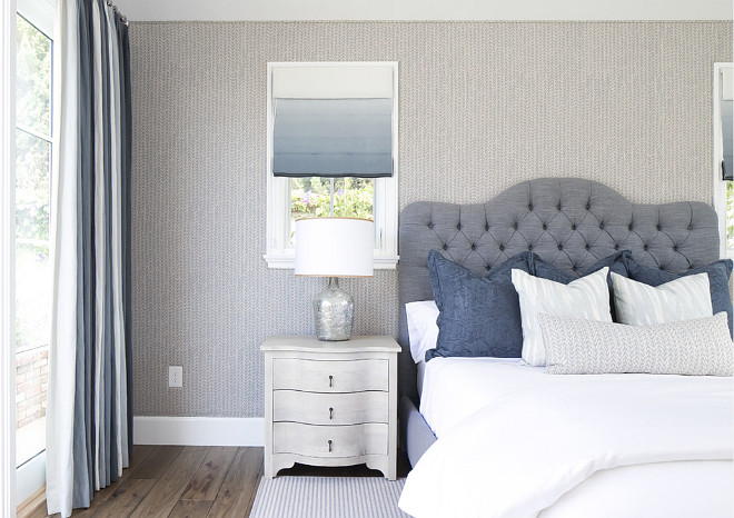 Bedroom. Bedroom with wallpaper and ombre Roman shades. #bedroom #BedroomWallpaper #Ombreshades #OmbreRomanShades Brooke Wagner Design