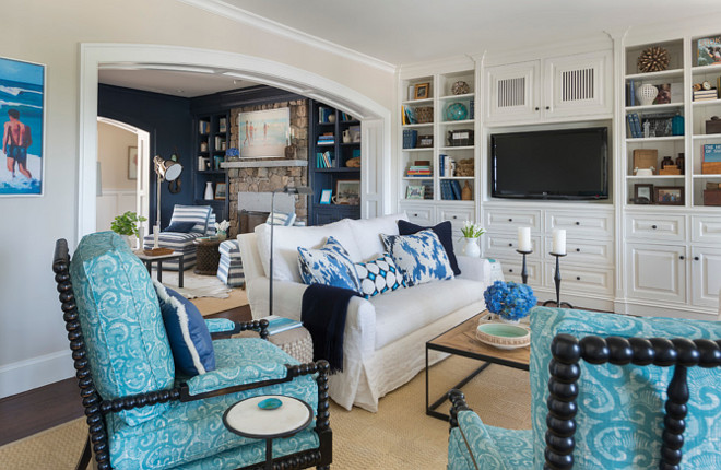 Coastal style blue and white interiors. Blue and white interiors. Beach house with Blue and white interiors. #Blueandwhiteinteriors Kate Jackson Design