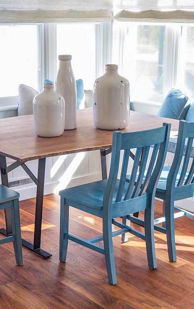 Breakfast nook chairs. Beach house style Breakfast nook with blue chairs. #Breakfastnook #chairs #BreakfastnookChairs Martha's Vineyard Interior Design