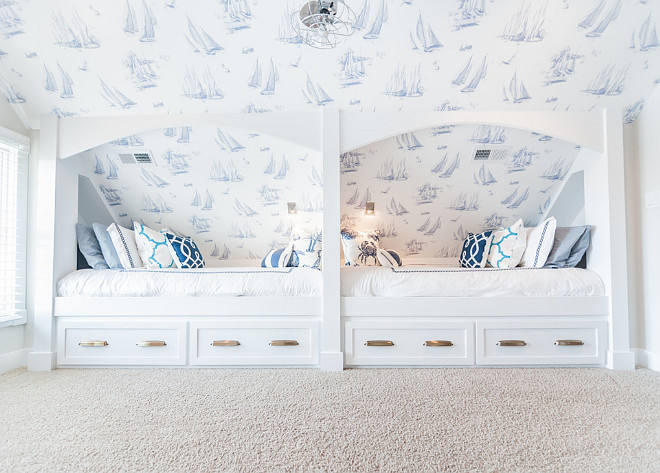 Bunk Room Beds. Bunk Room Bed Ideas. Bonus room turned into bunk room with custom beds and coastal wallpaper. The bed pulls are Restoration Hardware Gilmore Pull. #BunkRoom