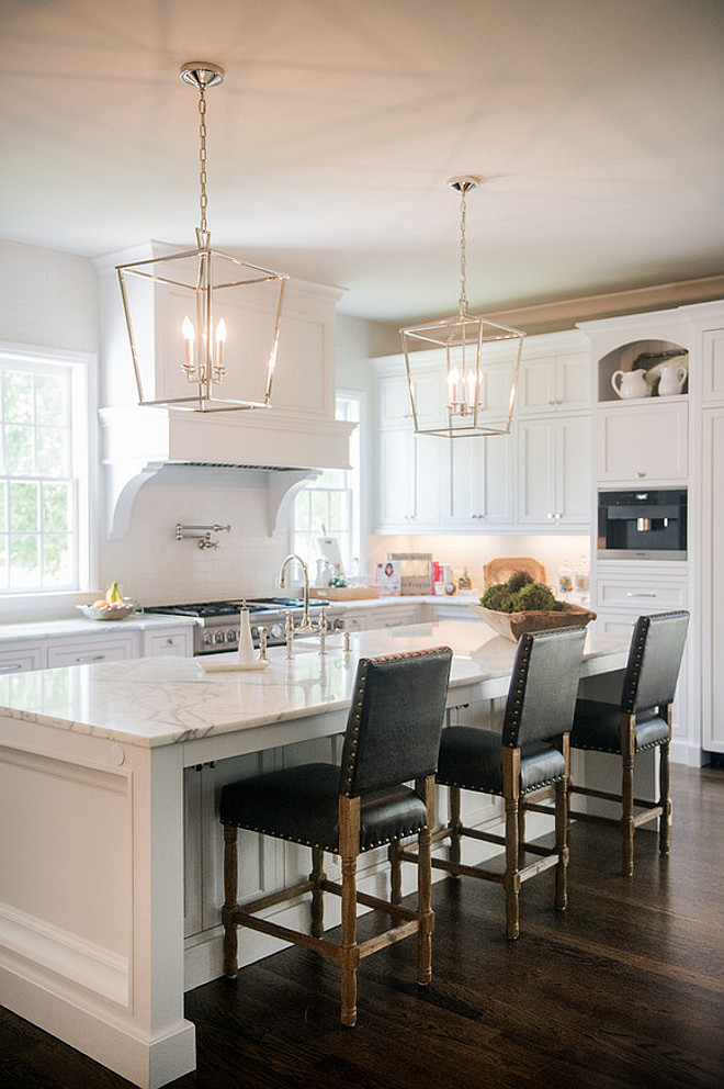 Darlana Kitchen Pendants. Darlana Kitchen Pendants above Island. Darlana Pendants. Darlana Pendants in Polished Nickel. #DarlanaPendants Artisan Design Studio