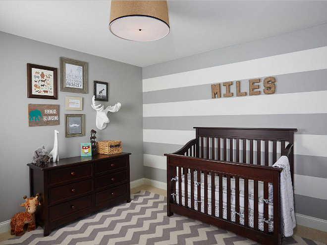 Gray Nursery. Gray Nursery with wall stripes and chevron rug. Gray Nursery wall stripes. Gray stripes. #GrayNursery #wallstripes #graystripes #chevronrug  Francesca Owings Interior Design