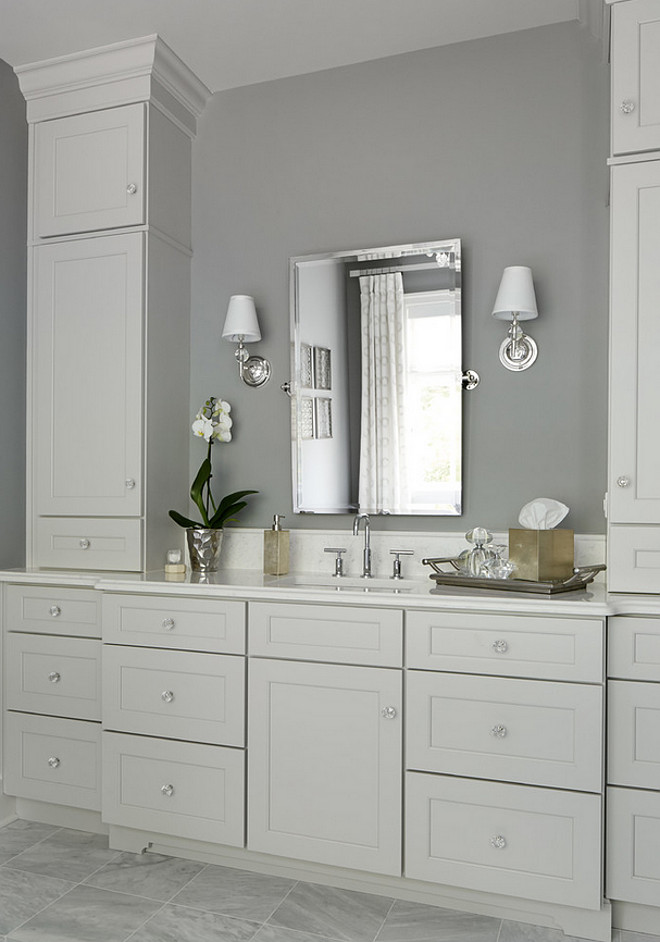Gray bathroom with pale gray cabinet. Summit Signature Homes, Inc