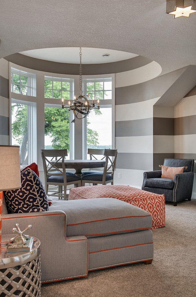 Gray stripes. Gray stripes wall. Gray stripes wall ideas. Gray stripes wall paint color. Gray striped walls #Graystripes #Graystripeswall #Graystripedwall Grace Hill Design. Gordon James Construction.