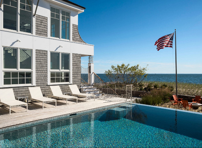 Hamptons Beach house backyard with pool. #Hamptons #HamptonsBeachhouse #Beachhousebackyard Artemis Landscape Architects, Inc.