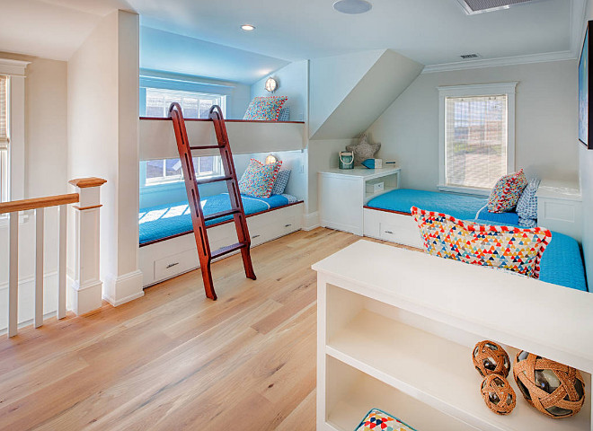 Kids Bunk Room. Colorful kids bunk room with bunk beds and built in twin beds. #bunkroom #bunkbeds #colorfulinteriors