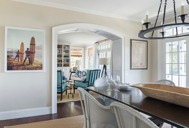 Kitchen Dining Area opens to family room through an arched doorway. Kitchen Dining Area with arched doorway. #Kitchen #DiningArea #ArchedDoorway Kate Jackson Design