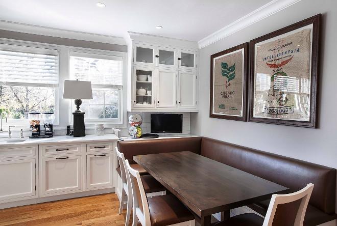 Kitchen banquette. Kitchen banquette. Kitchen banquette ideas. Banquette at the end of the kitchen. Kitchen banquette #Kitchenbanquette Remodeling Specialists Inc.