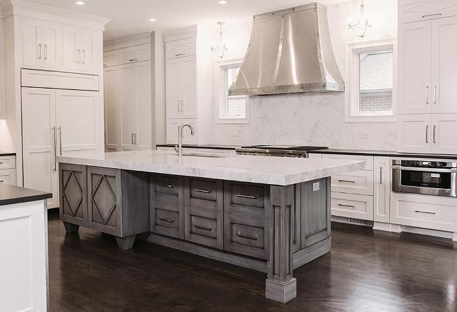 Kitchen island with gray wash. Gray wash kitchen island. Gray wash kitchen island. White kitchen with Gray wash island. #Graywashkitchenisland #Graywash #kitchenisland Summit Signature Homes, Inc