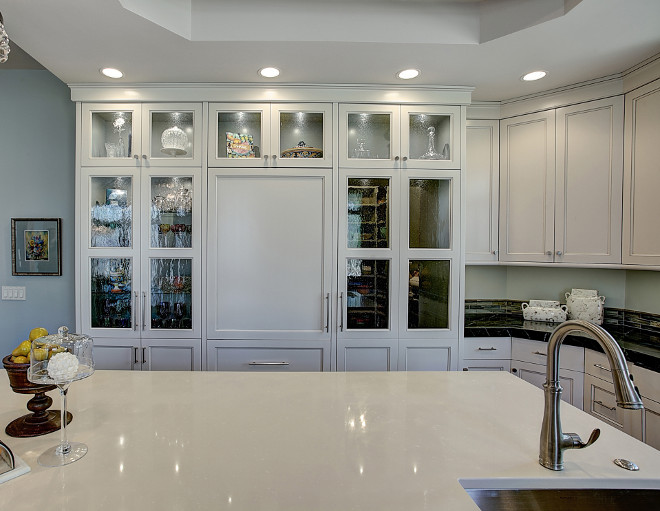 Seeded glass kitchen cabinet. Kitchen with seedy antique glass inserts. Seeded glass kitchen cabinet ideas. Seeded glass kitchen cabinets. Seeded glass kitchen cabinetry. #Seededglass #kitchen #cabinet #Seededglasskitchencabinet #Seededglasscabinet