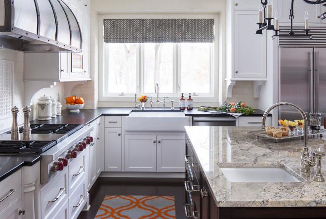 Kitchen perimeter countertop and island countertop. Kitchen island countertop is Crema Persa Granite. #CremaPersaGranite Martha O'Hara Interiors