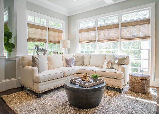 Living room Woven Shades Neutral living room with woven shades on windows. Living room Woven Shades. Woven shades are from Elite Window fashions. #Wovenshades #livingroom #livingroomwindows