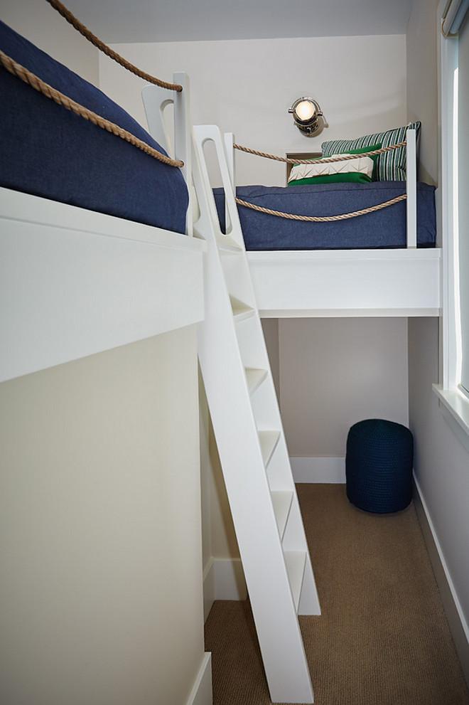 Loft style bunk room. Coastal Loft style bunk room. Small Loft style bunk room. Loft style bunk room ideas #Loft #loftbunkroom #bunkroom #smallbunkroom Mike Schaap Builders