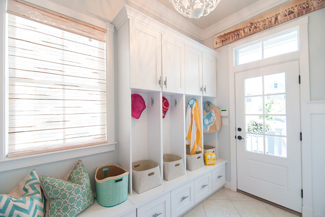 Mudroom Cubbies and Bench. Mudroom features Cubbies and Bench below window. Mudroom Cubbies and Bench Ideas. Mudroom Cubbies and Bench Layout #Mudroom #MudroomCubbies #MudroomBench Strickland Homes