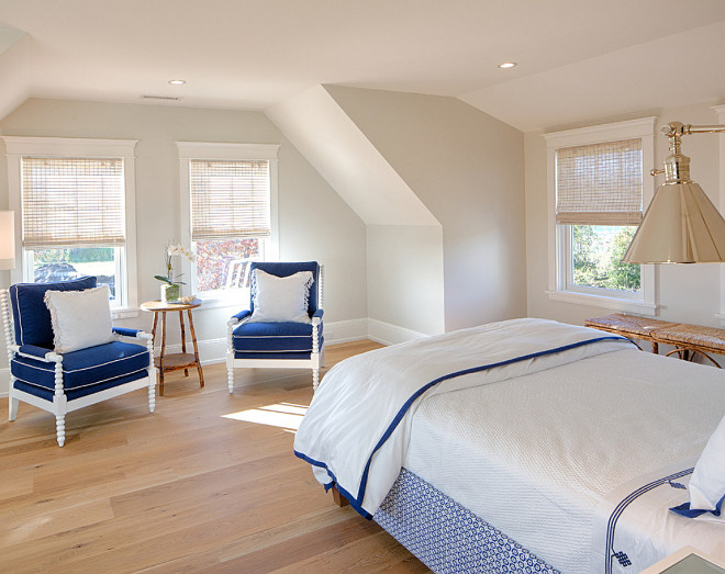 Neutral bedroom with blue and white accents. Sullivan Associates Architects