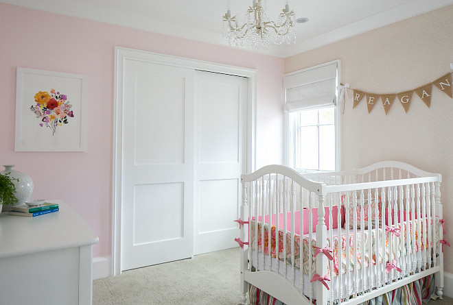 Nursery Ideas. Girls Nursery. Girls Nursery Painted in Pink and with wallpaper accent wall. #GirlsNursery