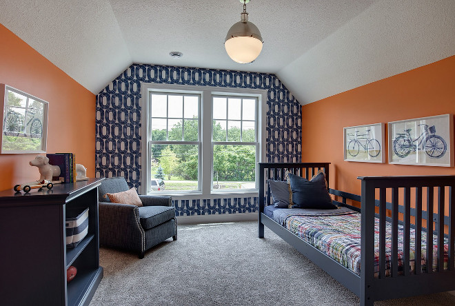Orange and Navy Bedroom. Orange and Navy Bedroom Ideas. Orange and Navy Kids Bedroom. Orange and Navy Bedroom Accent wall with wallpaper #OrangeandNavy #Bedroom #OrangeandNavyBedroom