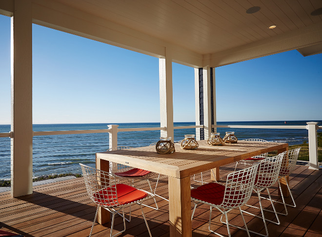 Overlooking the shoreline, the wide and ample deck floods the main level with natural light and provides dramatic views of Lake Michigan from nearly every angle. IPE Decking. #IPEDecking Mike Schaap Builders