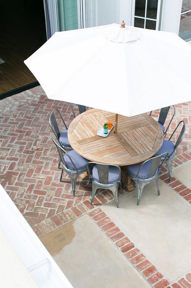 Patio Flooring. Brick patio flooring. Patio combines brick and concrete flooring. #Patio #Patioflooring #BrickPatio #Concretepatio