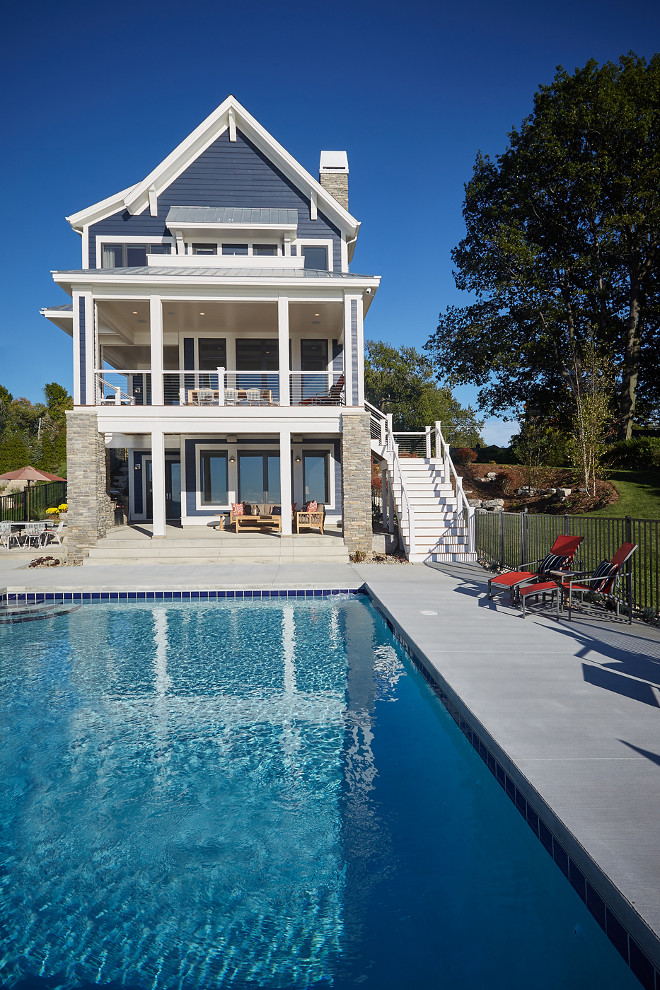 Pool Backyard Ideas. Navy exterior paint color is Benjamin Moore Hale Navy. Mike Schaap Builders.