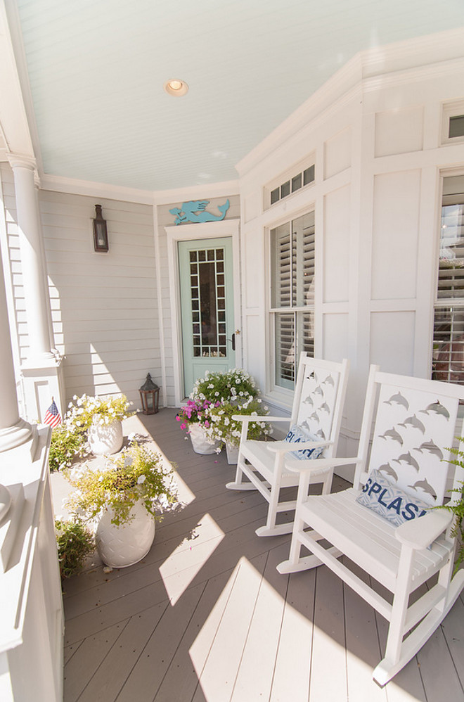 Porch. Front Porch Chairs and Decor. Front Porch with blue ceiling and turquoise front door. Porch ceiling paint color is Glidden Warm Breeze. Front Porch. #FrontPorch Strickland Homes