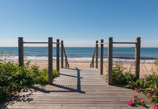 Steel cable deck railing. Kate Jackson Design.