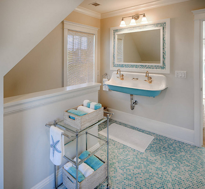 Small Bathroom Ideas. Small Bathroom Reno. Small Bathroom with turquoise penny round floor tile and double Kohler Brockway Sink. #KohlerBrockwaySink #SmallBathroom #Smallbathroomreno #pennyroundfloortile