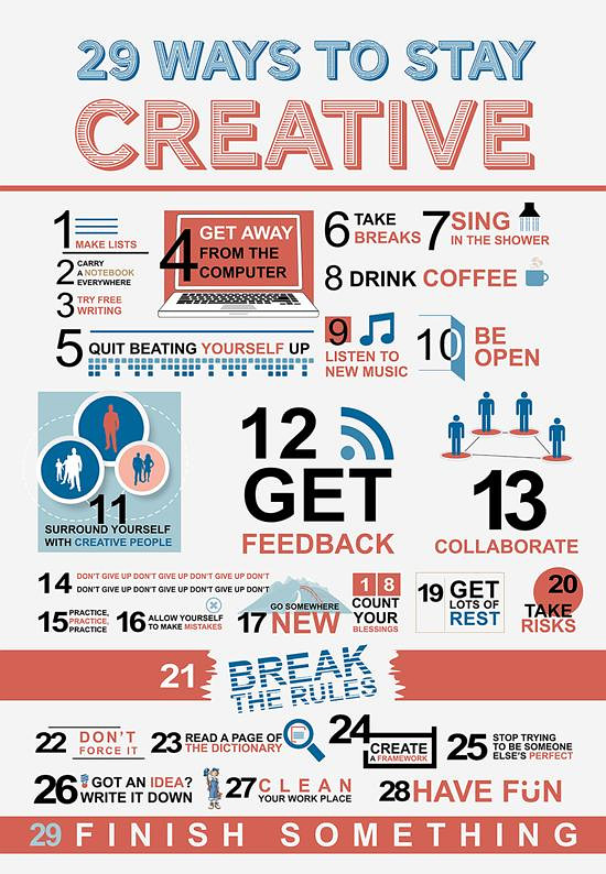 Tips to stay creative in your life.