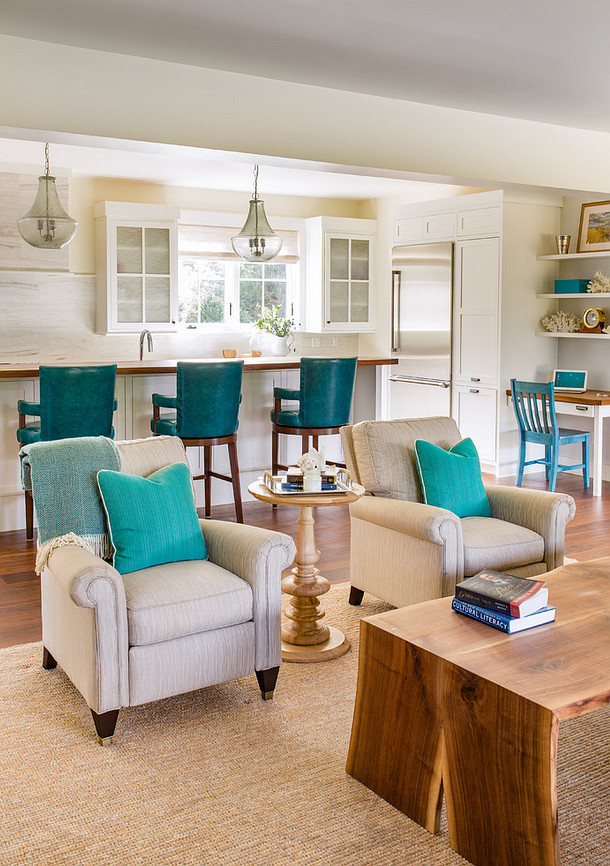 Turquoise Decorating Ideas. How to bring turquoise decor to your neutral home. Turquoise decor. Neutral home with turquoise decor and coastal accents. #turquoisedecor Martha's Vineyard Interior Design
