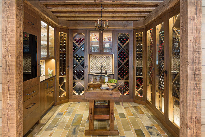 Wine Cellar. Wine Cellar Cabinets. Wine Cellar Flooring. Wine Cellar Ceiling. Reclaimed wood Wine Cellar Ideas. #WineCellar #ReclaimedwoodWineCellar #WineCellar Martha O'Hara Interiors