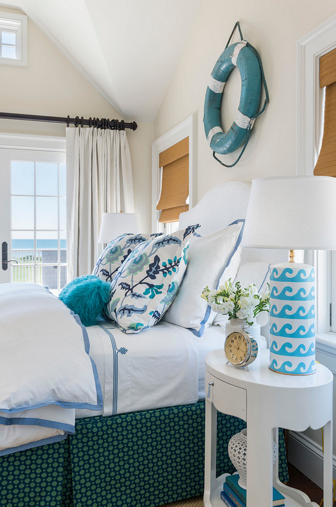 Bedroom Decorating Ideas. Bedroom Decor. Bedroom pillow fabric is Quadrille fabric Alan Campbell Potalla. Bedding is by Serena and Lily. The lamp is Wave Lamp in Turquoise. Wave Table Lamp in Turquoise by Dana Gibson. Paint color is Benjamin Moore Swiss Coffee. #Bedroom #BedroomDecor #Bedroomdecoratingideas Kate Jackson Design