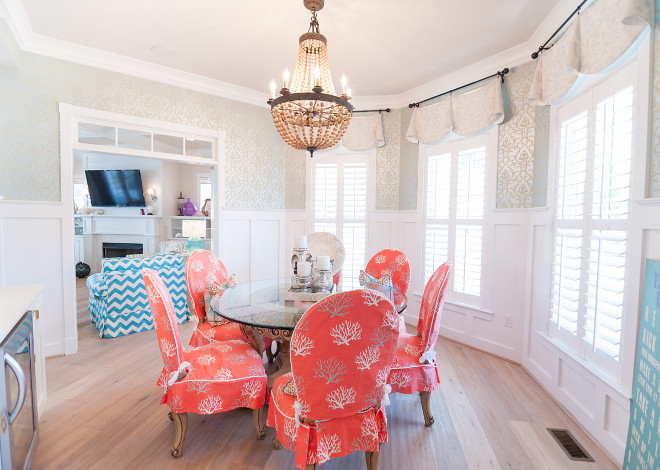 Dining Room Wallpaper. Dining Room wallpaper ideas. Neutral wallpaper. Neutral dining room wallpaper. Dining Room – York Wall – Sherwin Williams - Ghent Pattern #: DE8855 Pattern Name: Dazzled Collection: 844-Candice Olson Shimmering Details #diningroom #wallpaper #diningroomWallpaper #neutralwallpaper #wallpaperideas