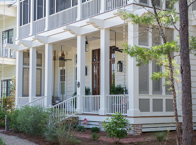 Complete Home Exterior Paint Color: Siding paint Color: Benjamin Moore Maritime White. Trim Paint Color: Benjamin Moore Navajo White. Shutter Paint Color: Benjamin Moore Briarwood. #CompleteHomePaintColor #ExteriorPaintColor #SidingpaintColor #BenjaminMooreMaritimeWhite #TrimPaintColor #BenjaminMooreNavajoWhite #ShutterPaintColor #BenjaminMooreBriarwood Interiors by Courtney Dickey and T.S. Adams Studio.