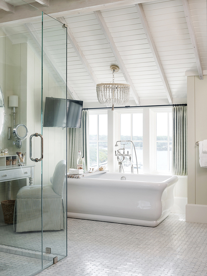 Bathtub Window Height. This is how windows should be placed when you have a nice view. I often see bathroom windows placed way up high, which doesn't allow you to see outside. The windows' height here allows you to see the view while in the tub. Bathtub Window Height Ideas. Bathtub Window Height Allows you to see the view while in the tub. Bathtub Window Height #Bathtub #WindowHeight