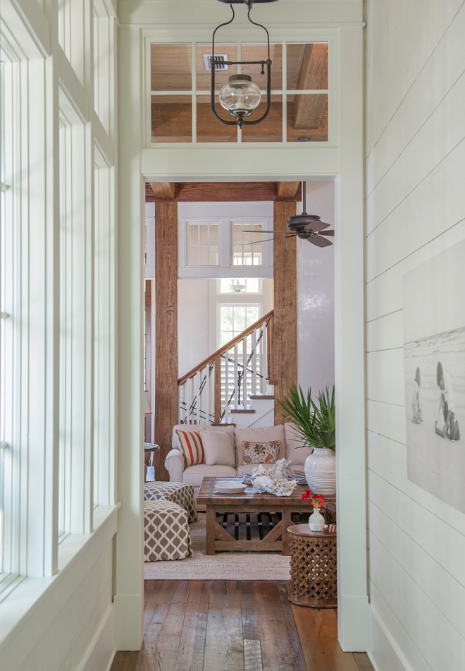 Benjamin Moore OC-17 White Dove. Warm White Shiplap Walls Painted in Benjamin Moore OC-17 White Dove. #WarmWhite #ShiplapWalls #BenjaminMooreOC17WhiteDove Interiors by Courtney Dickey and T.S. Adams Studio.